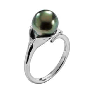 Sterling Silver Tahitian Cultured Pearl Ring