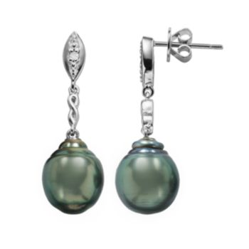 Sterling Silver Tahitian Cultured Pearl and Diamond Accent Drop Earrings