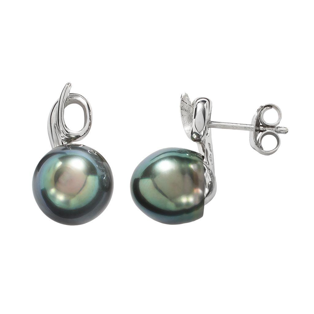Sterling Silver Tahitian Cultured Pearl Swirl Drop Earrings