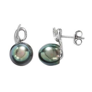 Sterling Silver Tahitian Cultured Pearl Swirl Drop Earrings