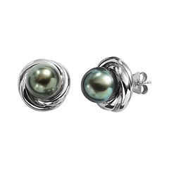 Sterling Silver Tahitian Cultured Pearl Twist Stud Earrings