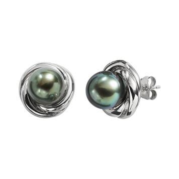Sterling Silver Tahitian Cultured Pearl Twist Stud Earrings
