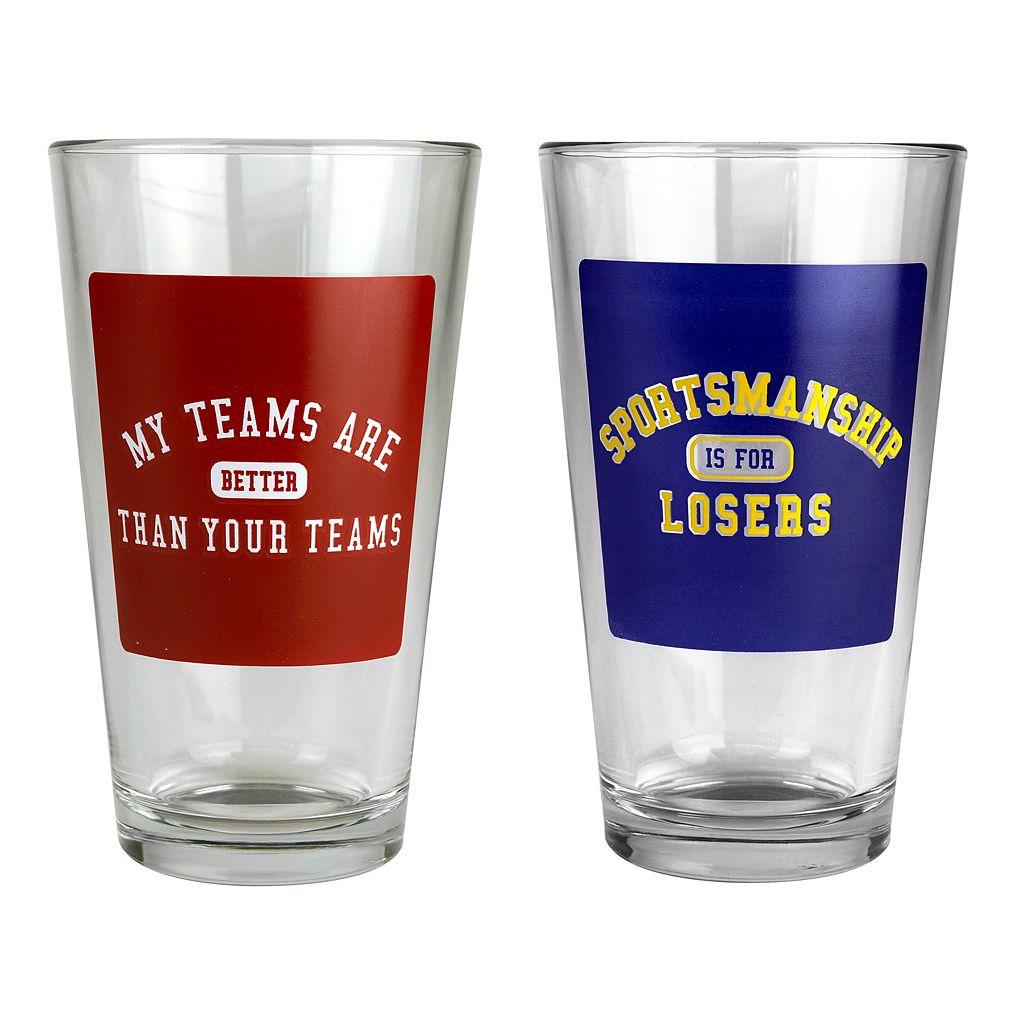 Busted Tees Sportsmanship 2-pk. Pint Glasses