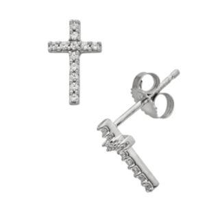 10k White Gold 1/10-ct. T.W. Diamond Cross Stud Earrings