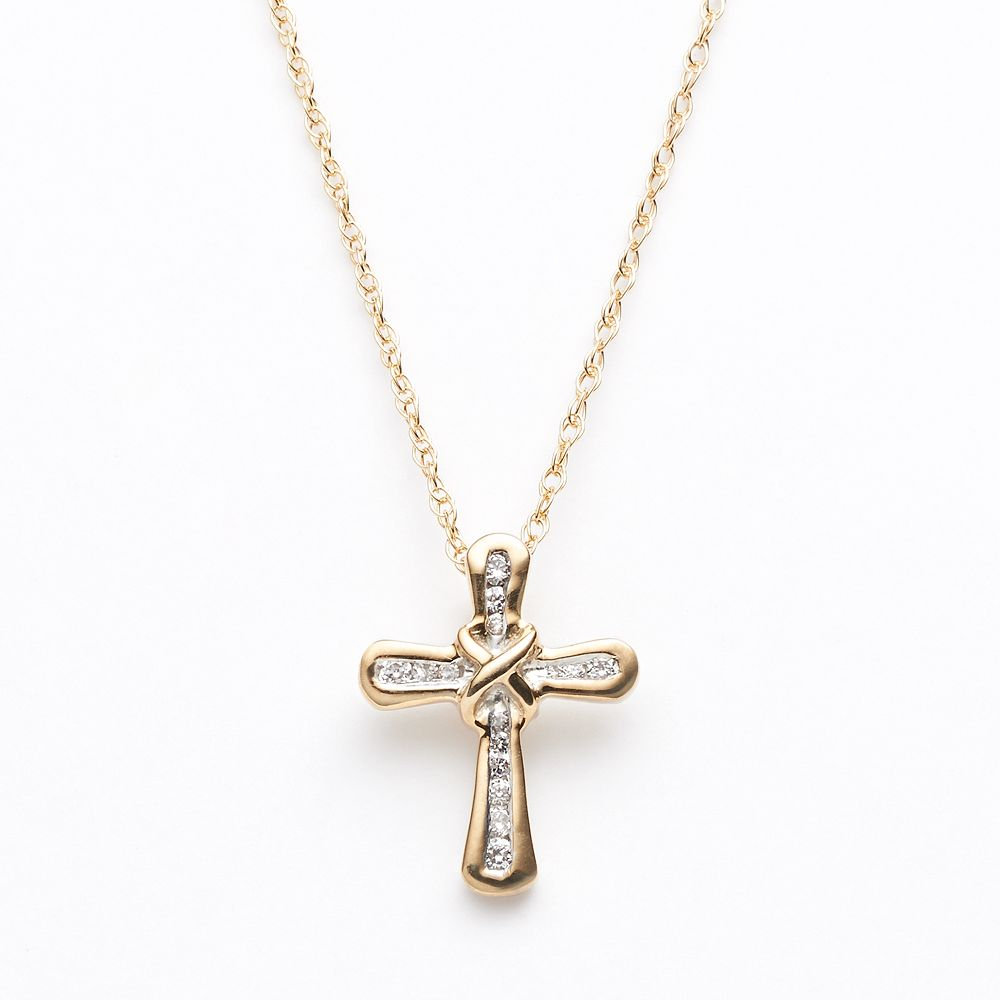 37835f6f598e3 Diamond Petites 10k Gold 1/10-ct. T.W. Diamond Cross Pendant