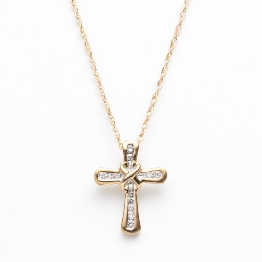 Diamond Petites 10k Gold 1/10-ct. T.W. Diamond Cross Pendant