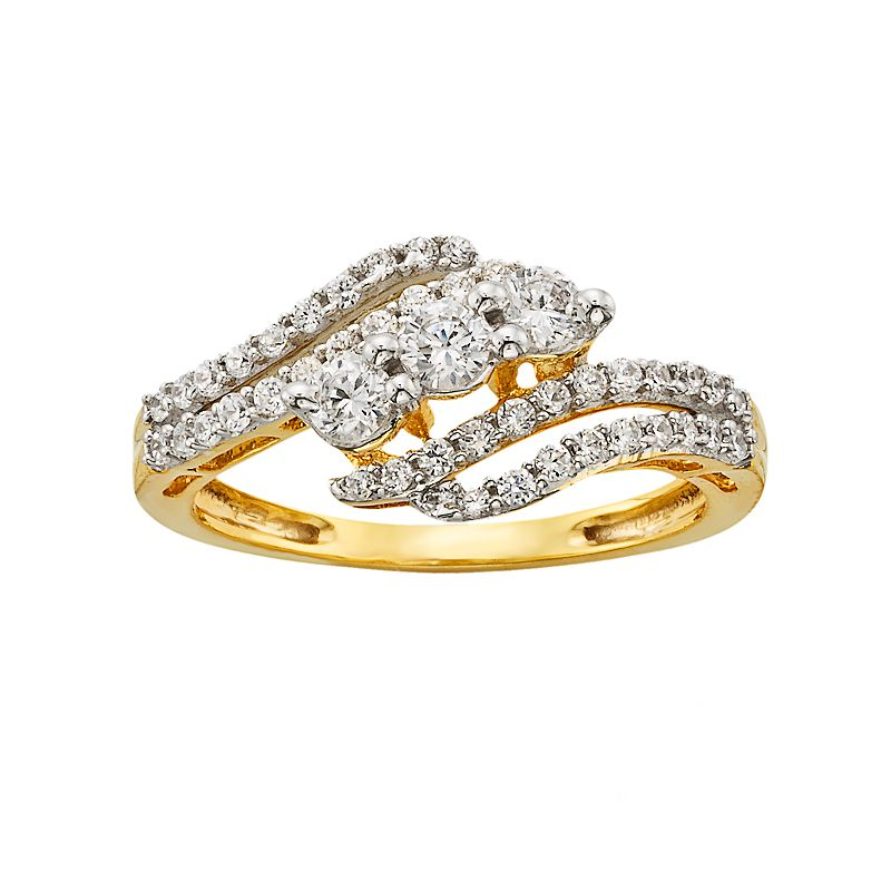 10k Gold 3/4-ct. T.W. Diamond 3-Stone Swirl Ring