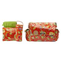 Kalencom Paisley Laminated Buckle Diaper Bag - Rose Orange