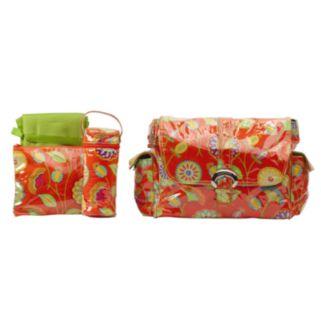 Kalencom Paisley Laminated Buckle Diaper Bag - Rose Orange