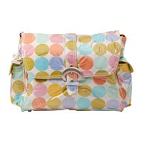Kalencom Disco Dots Laminated Buckle Diaper Bag - Cream