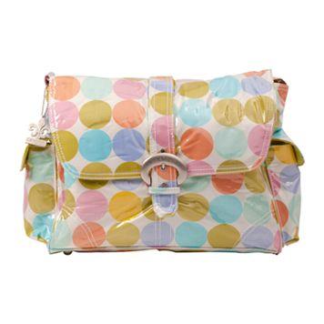 Kalencom Disco Dots Laminated Buckle Diaper Bag - Cream