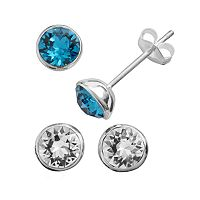 Illuminaire Silver Plate Crystal Stud Earring Set - Made with Swarovski Crystals