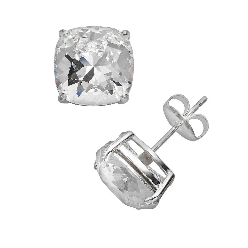 Illuminaire Silver Plate Crystal Stud Earrings - Made with Swarovski Crystals