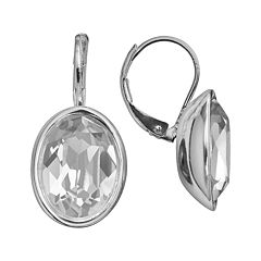 Illuminaire Silver-Plated Crystal Oval Drop Earrings - Made with Swarovski Crystals