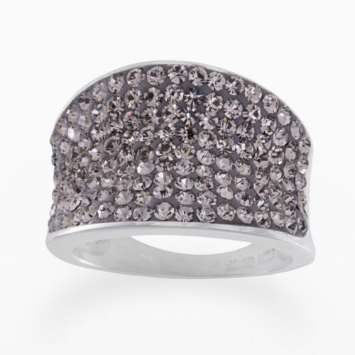 Silver-Plated Crystal Ring