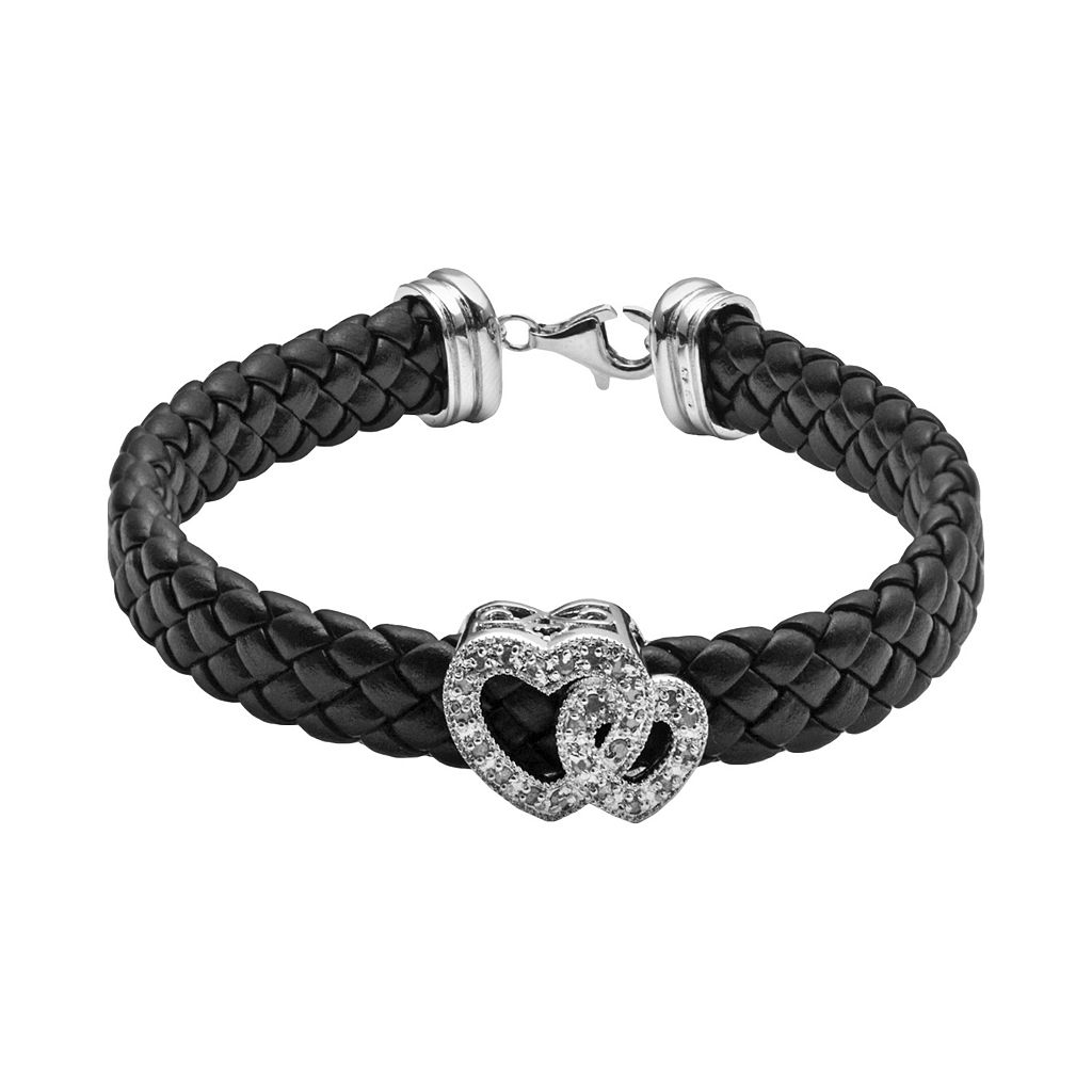 Sterling Silver & Black Leather 1/4-ct. T.W. Diamond Heart Bracelet