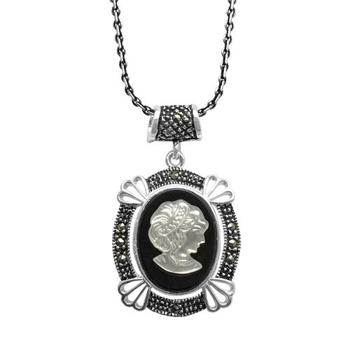 Le Vieux Onyx, Mother-Of-Pearl, & Marcasite Sterling Silver Cameo Pendant - Made with Swarovski Marcasite