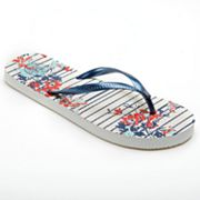 SO Zori Floral Striped Flip-Flops