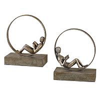 2 pc Lounging Reader Bookend Set