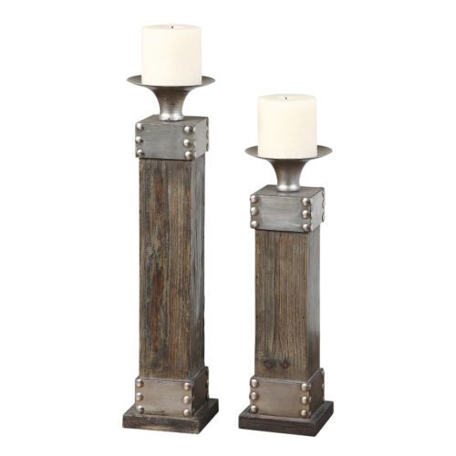 4-pc. Lican Pillar Candle and Candleholder Set