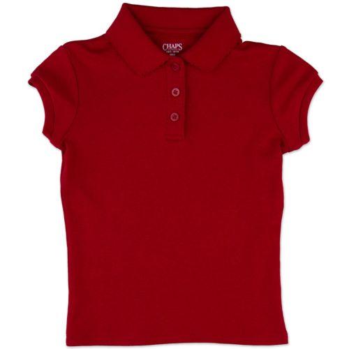 Chaps Picot School Uniform Polo - Girls 4-6x