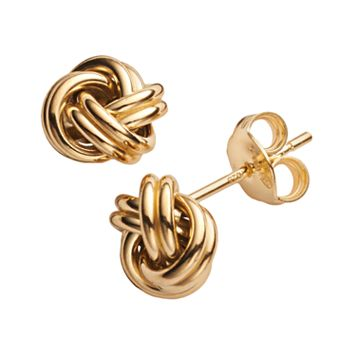 14k Gold Over Silver Love Knot Stud Earrings