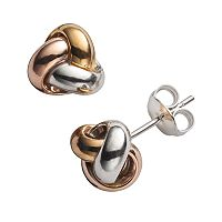 14k Gold Over Silver Tri-Tone Love Knot Stud Earrings
