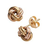 14k Gold Over Silver Two Tone Love Knot Stud Earrings