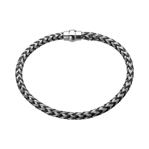 LYNX Stainless Steel Black Ion-Plated Braided Cable Bracelet - Men