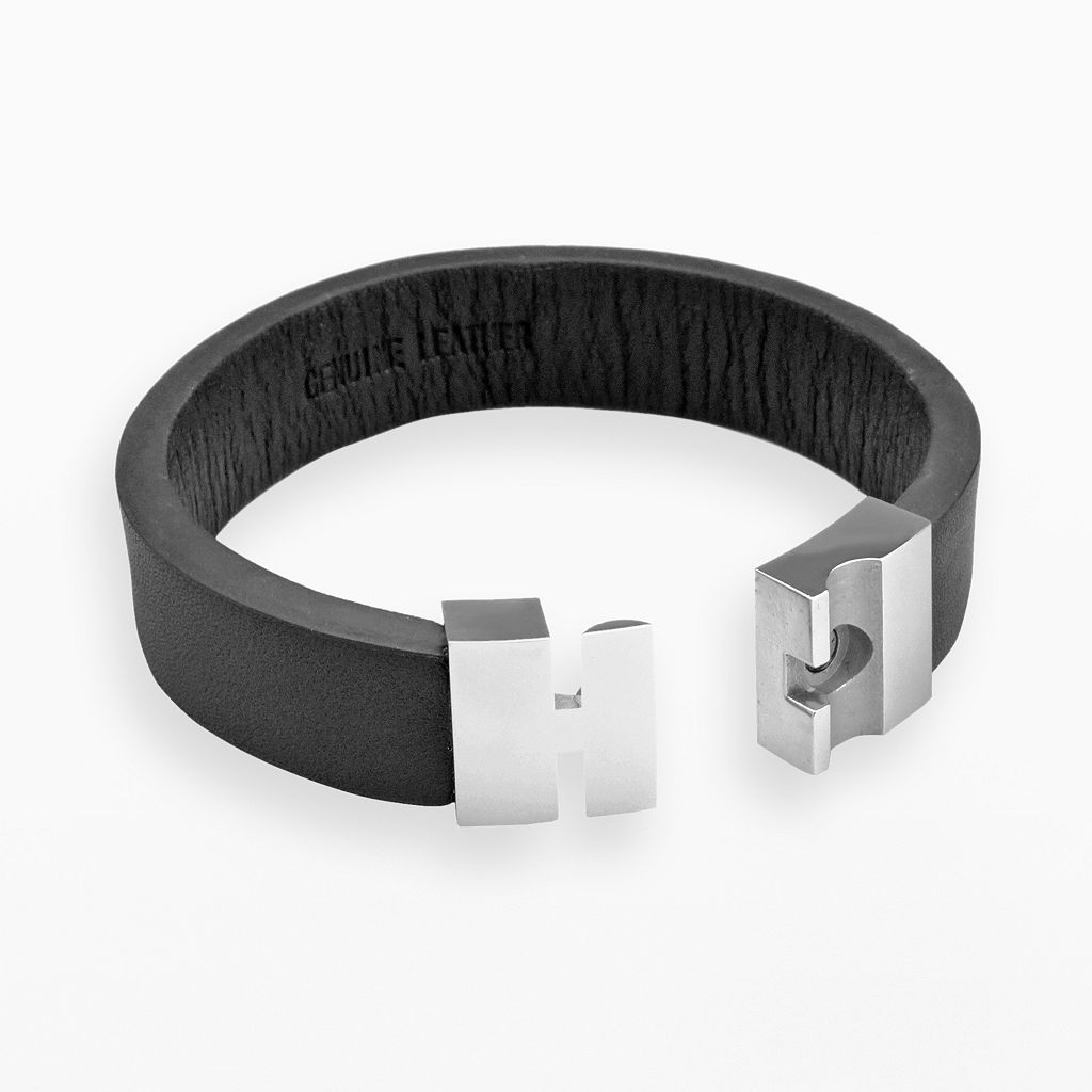 LYNX Stainless Steel and Black Leather Bracelet - Men