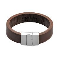 LYNX Stainless Steel & Brown Leather Bracelet - Men
