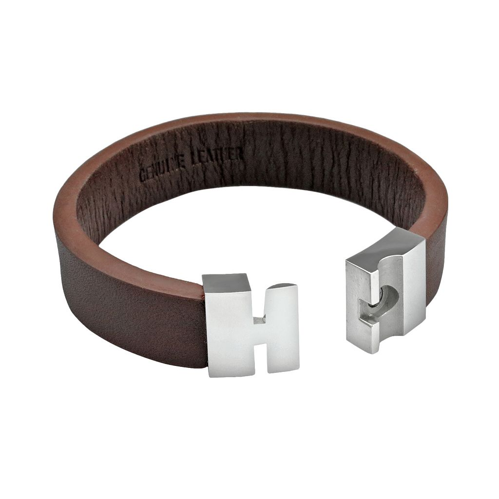 LYNX Stainless Steel and Brown Leather Bracelet - Men