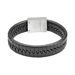 LYNX Stainless Steel & Black Leather Bracelet - Men