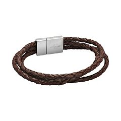 LYNX Stainless Steel & Brown Leather Rope Bracelet - Men