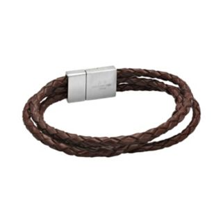 LYNX Stainless Steel and Brown Leather Rope Bracelet - Men