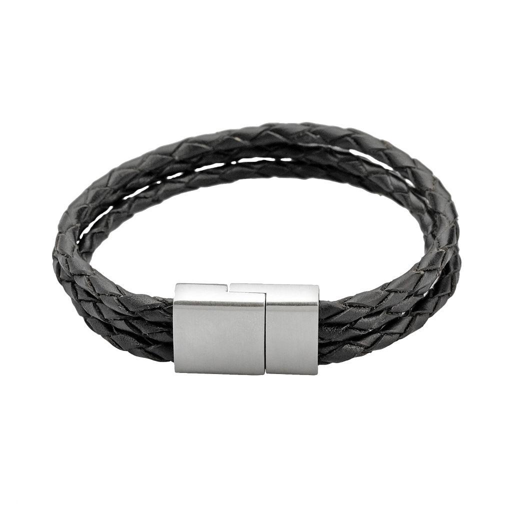 LYNX Stainless Steel & Black Leather Bracelet - Men
