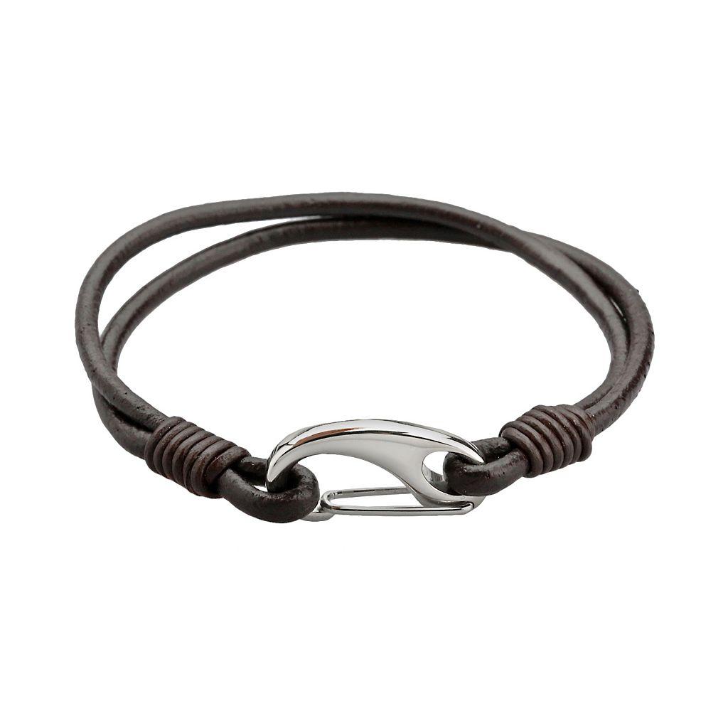 LYNX Stainless Steel & Brown Leather Bracelet - Men