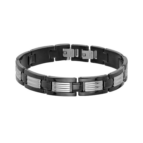 LYNX Black Ion-Plated Stainless Steel & Stainless Steel Ribbed Link Bracelet - Men