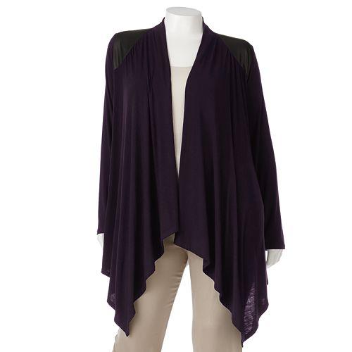 75010c3662 Plus Size Apt. 9® Faux-Leather Trim Open-Front Cardigan