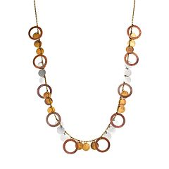 Mudd® Tri-Tone Disc Charm Necklace