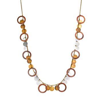 Mudd® Tri-Tone Disc Charm Necklace