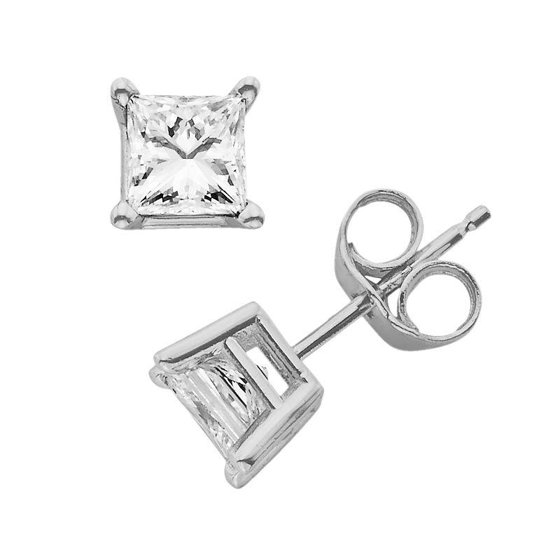 14k White Gold 1 1/4-ct. T.W. Princess-Cut Diamond Solitaire Earrings