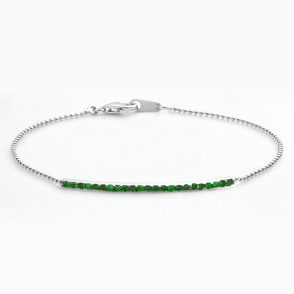 Sophie Miller Sterling Silver Simulated Emerald Bar Link Bracelet