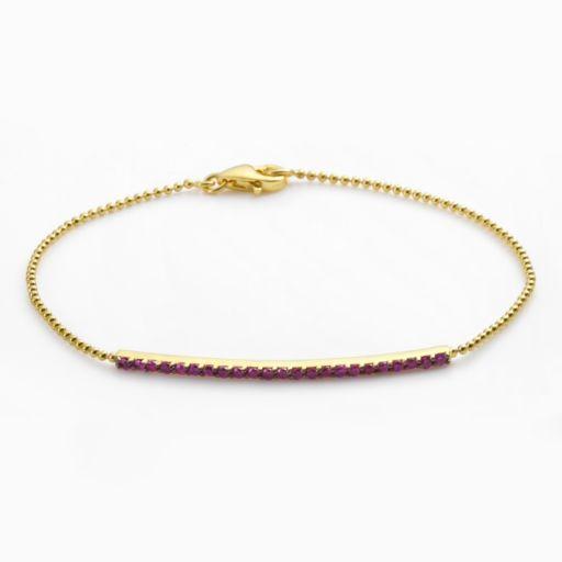 Sophie Miller 14k Gold Over Silver Red Cubic Zirconia Bar Link Bracelet