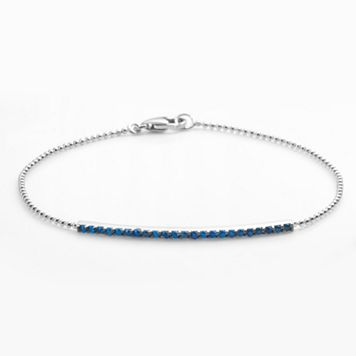 Sophie Miller Sterling Silver Blue Cubic Zirconia Bar Link Bracelet
