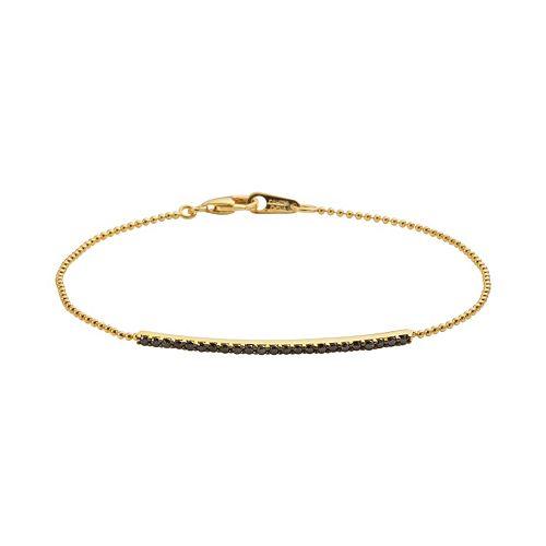 Sophie Miller 14k Gold Over Silver Black Cubic Zirconia Bar Link Bracelet