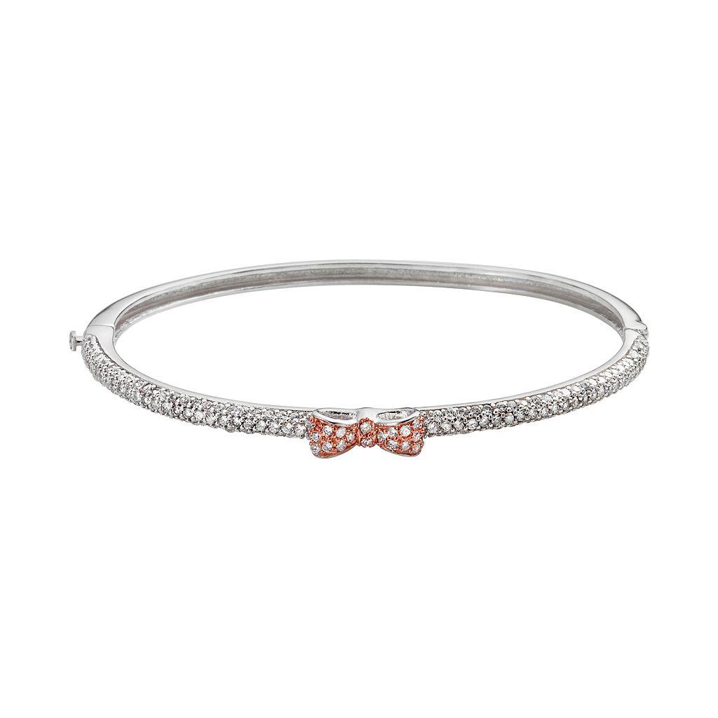 Sophie Miller 14k Rose Gold Over Silver & Sterling Silver Cubic Zirconia Bow Bangle Bracelet