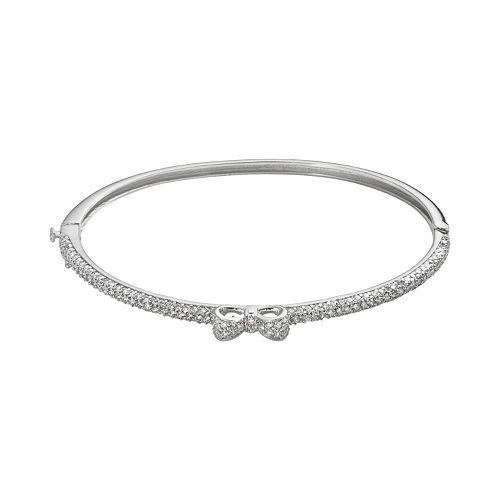 Sophie Miller Sterling Silver Cubic Zirconia Bow Bangle Bracelet