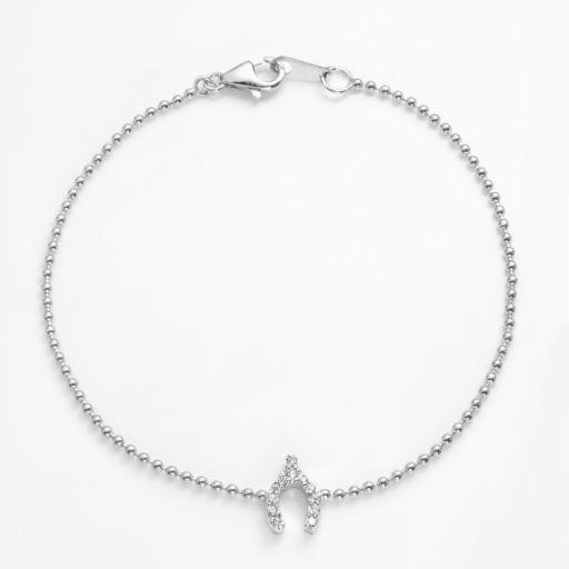 Sophie Miller Sterling Silver Cubic Zirconia Wishbone Link Bracelet