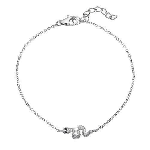 Sophie Miller Sterling Silver Black & White Cubic Zirconia Snake Link Bracelet